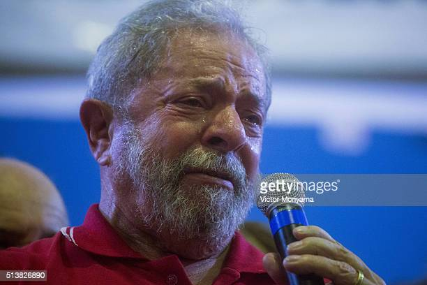 Former President of Brazil Luiz Inacio Lula da Silva during a during rally for hundreds of people at the Partido dos Trabalhadores headquarters on...