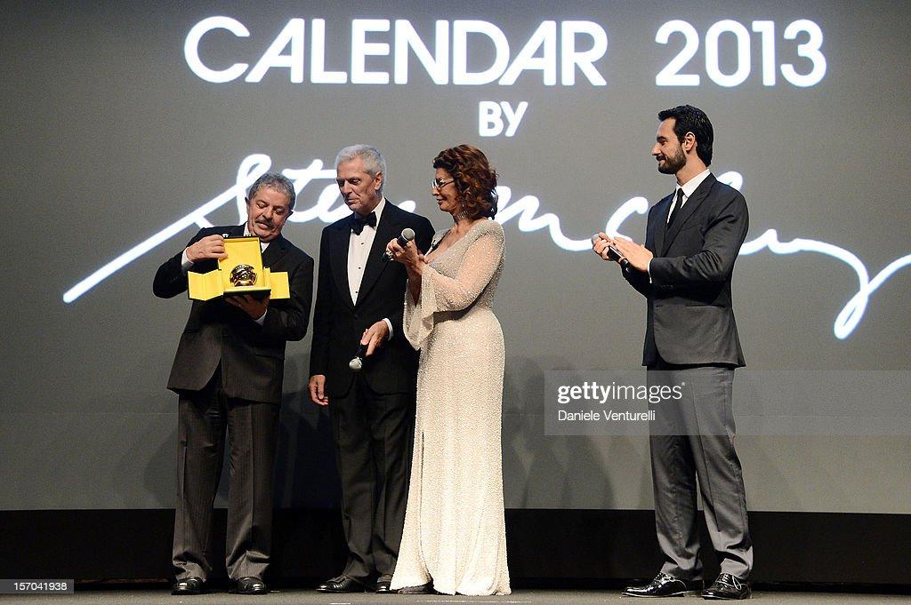 Former President of Brazil, Luiz Inacio Lula da Silva, Pirelli & C President Marco Tronchetti Provera, Sophia Loren and Rodrigo Santoro attends the '2013 Pirelli Calendar Unveiling' on November 27, 2012 in Rio de Janeiro, Brazil.
