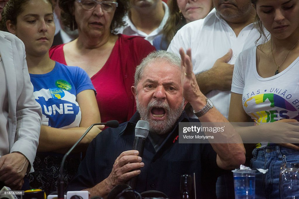 Former President of Brazil, <a gi-track='captionPersonalityLinkClicked' href=/galleries/search?phrase=Luiz+Inacio+Lula+da+Silva&family=editorial&specificpeople=211609 ng-click='$event.stopPropagation()'>Luiz Inacio Lula da Silva</a>, speaks during a press conference at the Partido dos Trabalhadores headquarters on March 4, 2016, in Sao Paulo, Brazil. Lula is accused of corruption and embezzlement in the Federal Police investigation involving fraud at Petrobras company.