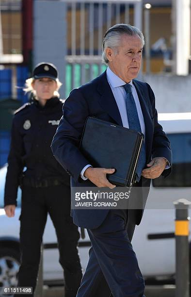 Former president of Caja Madrid Miguel Blesa arrives at the High Court in San Fernando de Henares near Madrid for the 'Black cards of Bankia' trial...