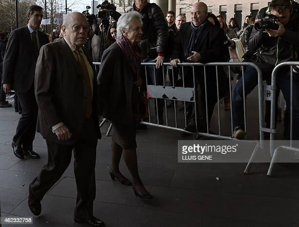 Former president of Catalonia Jordi Pujol and his wife Marta Ferrusola arrive at the courthouse in Barcelona on January 27 2015 Pujol is to appear...