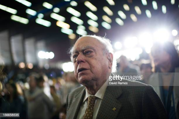 Former President of Catalonia Jordi Pujol sings 'Els Segadors' the Catalan national Anthem at the end of the main Convergencia i Unio campaing...
