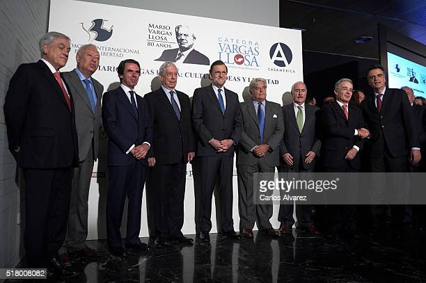 Former President of Chile Sebastian Pinera Spanish Minister of Foreign Affairs and Cooperation Jose GarciaMargallo former Spanish Prime Minister Jose...