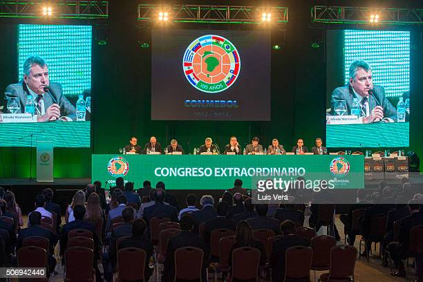 Former president of CONMEBOL Wilmar Valdez speaks during Presidential Elections at CONMEBOL headquarters on January 26 2016 in LUQUE Paraguay