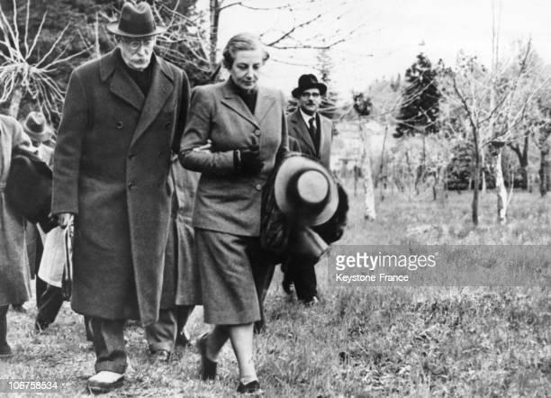Former President Of Council Leon Blum And His Wife In Cerro Near Lake Maggiore In 1948