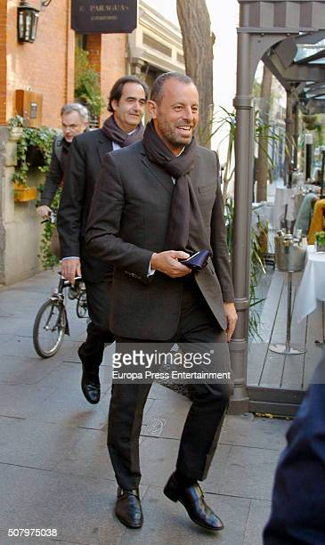 Former president of FC Barcelona Sandro Rosell is seen leaving a restaurant after attending National Court to declare about Barcelona's signing of...
