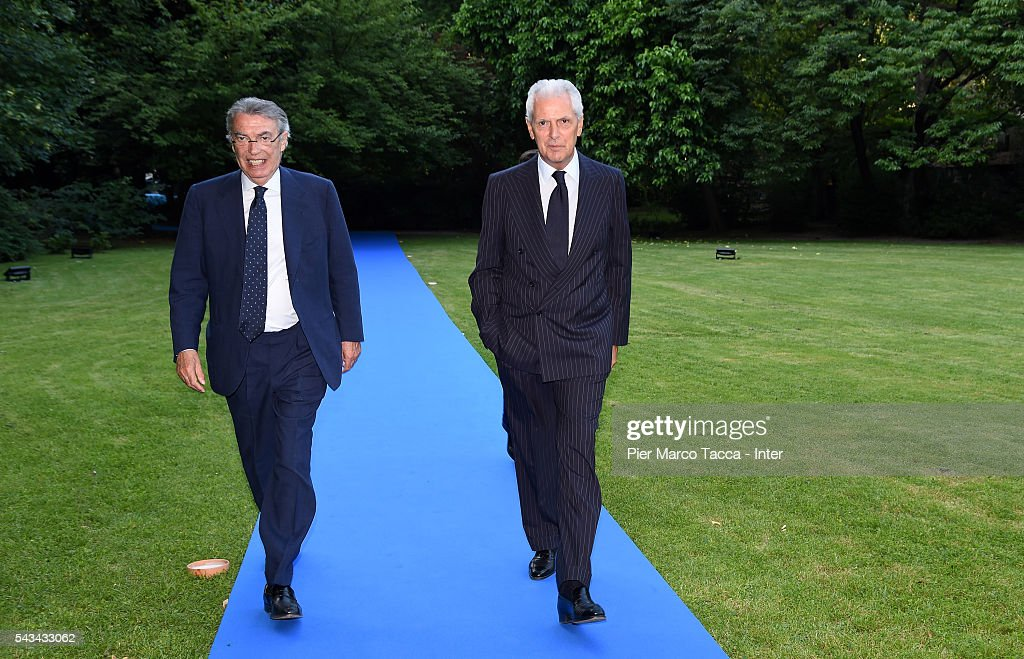 Former President of FC Internazionale <a gi-track='captionPersonalityLinkClicked' href=/galleries/search?phrase=Massimo+Moratti&family=editorial&specificpeople=2726881 ng-click='$event.stopPropagation()'>Massimo Moratti</a> and <a gi-track='captionPersonalityLinkClicked' href=/galleries/search?phrase=Marco+Tronchetti+Provera&family=editorial&specificpeople=558275 ng-click='$event.stopPropagation()'>Marco Tronchetti Provera</a> attends the gala dinner after FC Internazionale Shareholder's Meeting on June 28, 2016 in Milan, Italy.