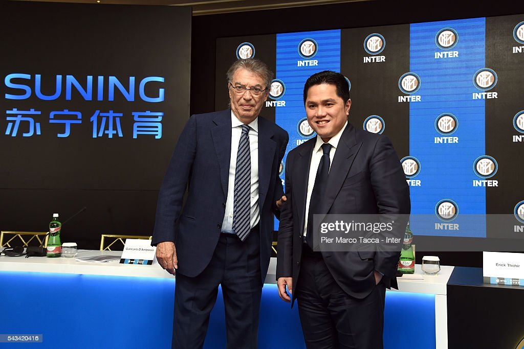 Former President of FC Internazionale <a gi-track='captionPersonalityLinkClicked' href=/galleries/search?phrase=Massimo+Moratti&family=editorial&specificpeople=2726881 ng-click='$event.stopPropagation()'>Massimo Moratti</a> and the President of FC Internazionale <a gi-track='captionPersonalityLinkClicked' href=/galleries/search?phrase=Erick+Thohir&family=editorial&specificpeople=9531719 ng-click='$event.stopPropagation()'>Erick Thohir</a> pose at the end of FC Internazionale Shareholder's Meeting on June 28, 2016 in Milan, Italy.