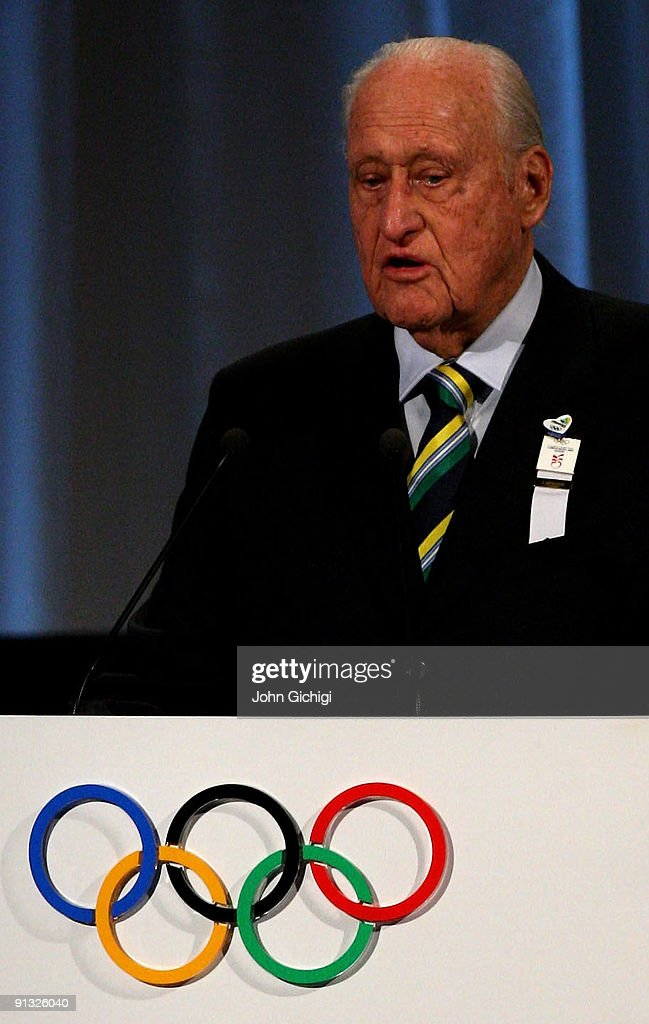 Former President of FIFA <a gi-track='captionPersonalityLinkClicked' href=/galleries/search?phrase=Joao+Havelange&family=editorial&specificpeople=552184 ng-click='$event.stopPropagation()'>Joao Havelange</a> addresses IOC members during the Rio 2016 presentation on October 2, 2009 at the Bella Centre in Copenhagen, Denmark. The 121st session of the International Olympic Committee (IOC) will vote on October 2 on whether Chicago, Tokyo, Rio de Janeiro or Madrid will host the 2016 Olympic Games.