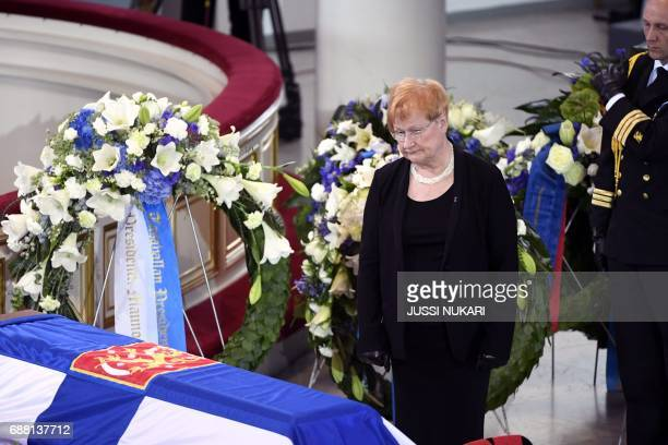 Former president of Finland Tarja Halonen pays tribute next to the coffin of Finland's former President Mauno Koivisto during a state funeral...