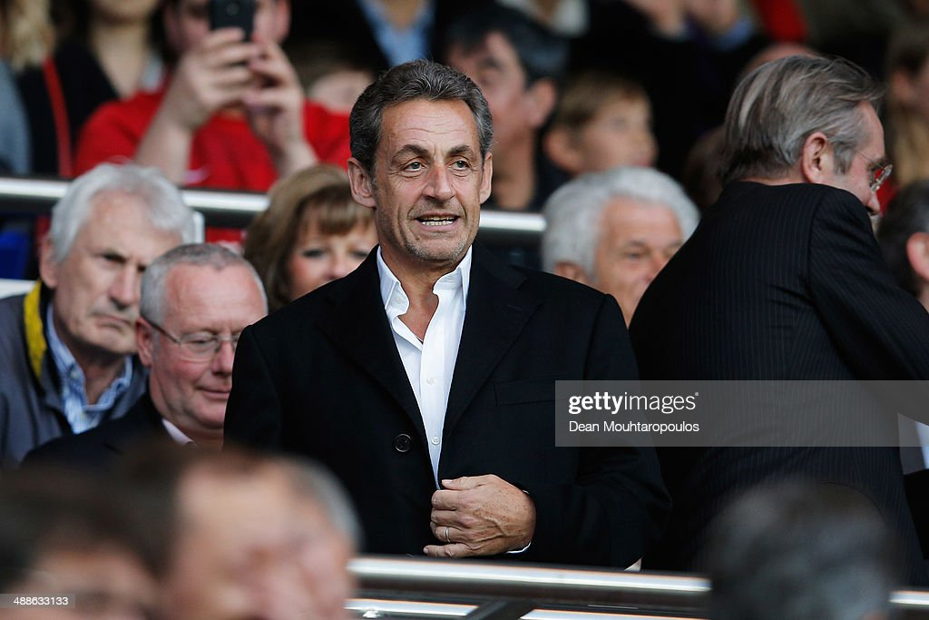 Former President of France, <a gi-track='captionPersonalityLinkClicked' href=/galleries/search?phrase=Nicolas+Sarkozy&family=editorial&specificpeople=211375 ng-click='$event.stopPropagation()'>Nicolas Sarkozy</a> arrives to watch the Ligue 1 match between Paris Saint-Germain FC and Stade Rennais FC at Parc des Princes on May 7, 2014 in Paris, France.