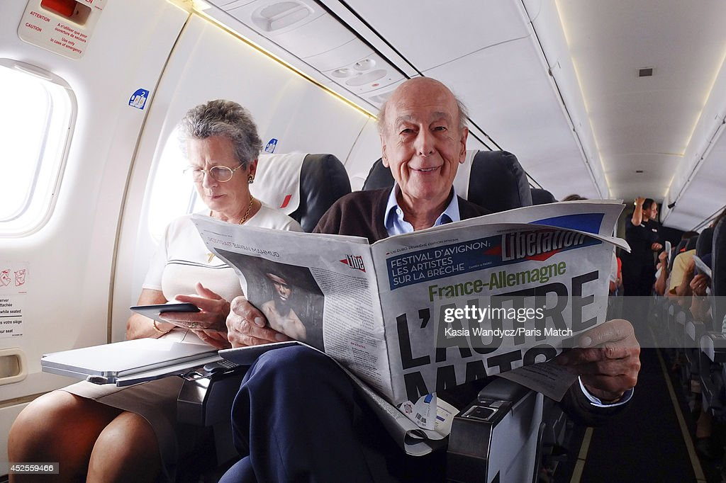 Former President of France <a gi-track='captionPersonalityLinkClicked' href=/galleries/search?phrase=Valery+Giscard+d%27Estaing&family=editorial&specificpeople=209245 ng-click='$event.stopPropagation()'>Valery Giscard d'Estaing</a> is photographed for Paris Match catching a flight to Rodez to return to his ancestral home in the village of Estaing. Paris Match, July 4, 2014 Paris, France.