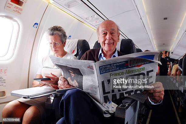 Former President of France Valery Giscard d'Estaing is photographed for Paris Match catching a flight to Rodez to return to his ancestral home in the...