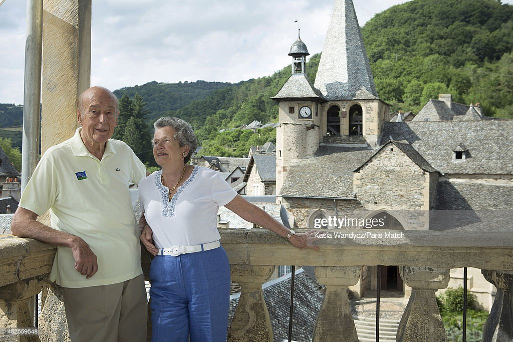 Former President of France <a gi-track='captionPersonalityLinkClicked' href=/galleries/search?phrase=Valery+Giscard+d%27Estaing&family=editorial&specificpeople=209245 ng-click='$event.stopPropagation()'>Valery Giscard d'Estaing</a> with is wife Anne-Aymone are photographed at his ancestral home in the village of Estaing which has been turned into a museum dedicated to his Presidency. Paris Match, July 5, 2014 near Rodez, France.