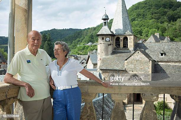 Former President of France Valery Giscard d'Estaing with is wife AnneAymone are photographed at his ancestral home in the village of Estaing which...