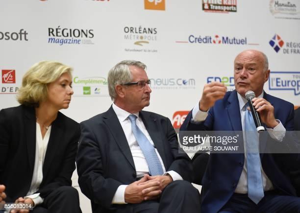 Former President of France's regions Alain Rousset flanked by President of the Centre Val de Loire region Francois Bonneau and President of the...