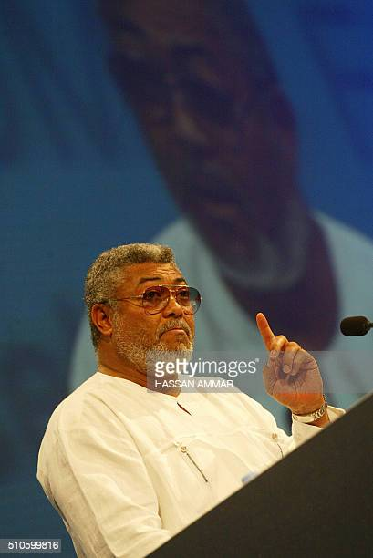 Former President of Ghana Jerry Rawlings speaks during the Jeddah Economic Forum 11 February 2006 in the Red Sea city of Jeddah The Jeddah Economic...