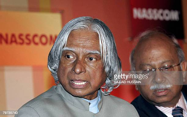 Former President of India Abdul Kalam is flanked by Saurabh Srivastava Chairman Nasscom Foundation as he gestures during the India Leadership Forum...