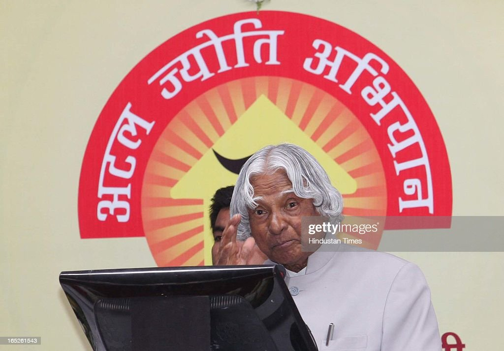Former president of India Dr. APJ Abdul Kalam addressing the gathering after the inauguration of 'Atal Jyoti Abhiyan' that marks the beginning of 24/7 power supply in Bhopal District on April 2, 2013 in Bhopal, India.