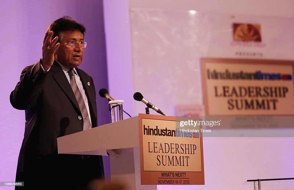 Former President of Pakistan Pervez Musharraf addressing the gathering on Uniting South Asia: The Way Forward during the second day of the Hindustan Times Leadership Summit on November 17, 2012 in New Delhi, India.