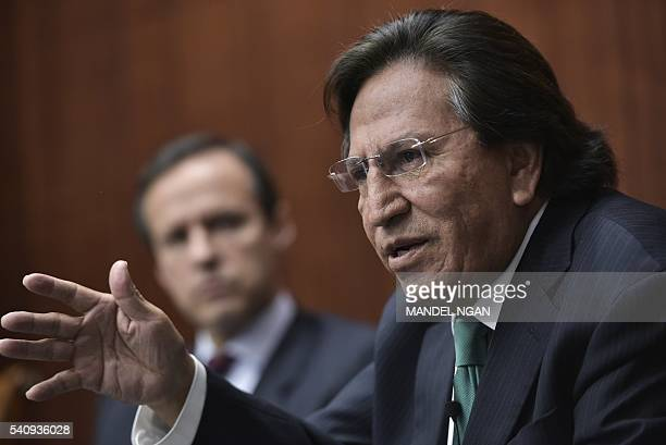 Former President of Peru Alejandro Toledo speaks watched by former President of Bolivia Jorge Quiroga during a discussion on Venezuela and the OAS at...
