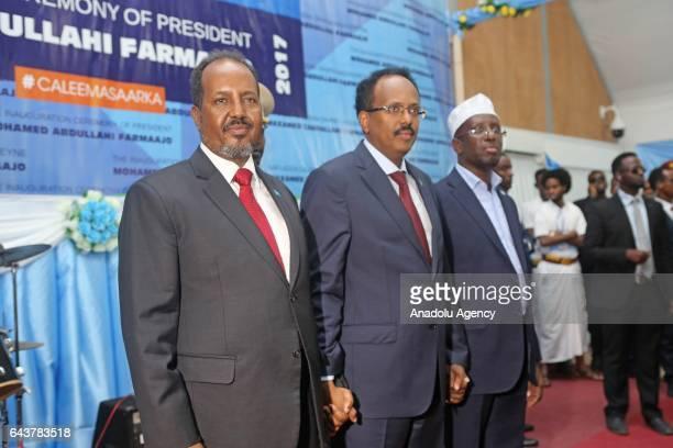 Former President of Somalia Hassan Sheikh Mohamud 7th President of Somalia Sharif Sheikh Ahmed and Somalia's new President Mohamed Abdullahi Mohamed...