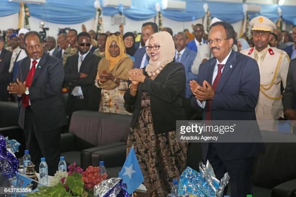 Former President of Somalia Hassan Sheikh Mohamud attends Somalia's new President Mohamed Abdullahi Mohamed's inauguration ceremony in Mogadishu...