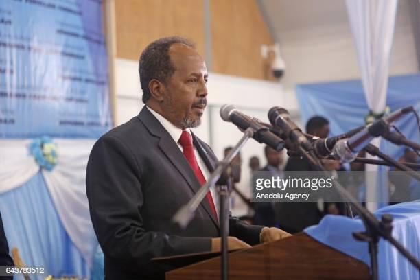 Former President of Somalia Hassan Sheikh Mohamud gives a speech during Somalia's new President Mohamed Abdullahi Mohamed's inauguration ceremony in...