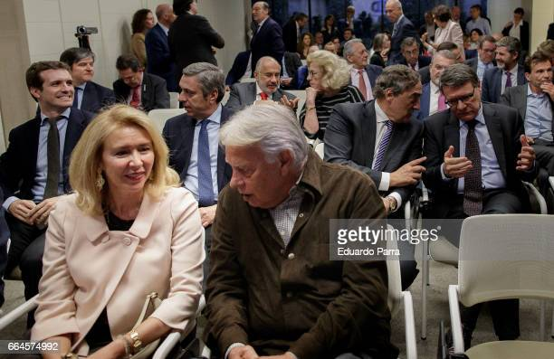 Former President of Spain Felipe Gonzalez Jordi Sevilla and Joan Rosell attend the presentation of the book 'Un pan como unas tortas' at Abertis...
