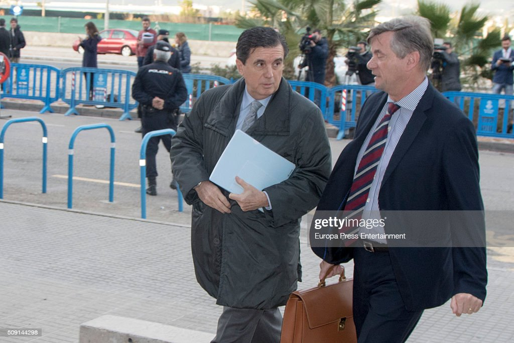 Former President of the Balearic Islands Jaume Matas (L) arrives at the courtroom at the Balearic School of Public Administration for summary proceedings on February 09, 2016 in Palma de Mallorca, Spain. Princess Cristina of Spain, sister of King Felipe VI of Spain, faces a tax fraud trial over alleged links to business dealings of her husband, Inaki Urdangarin Princess Cristina co-owned with her husband a company called Aizoon alleged to be one of the companies used by the non-profit foundation named 'Instituto NOOS', headed by Inaki Urdangarin to misuse 5.6 million euro of public funds which were allocated to organise sports and tourism events on February 9, 2016 in Palma de Mallorca, Spain.