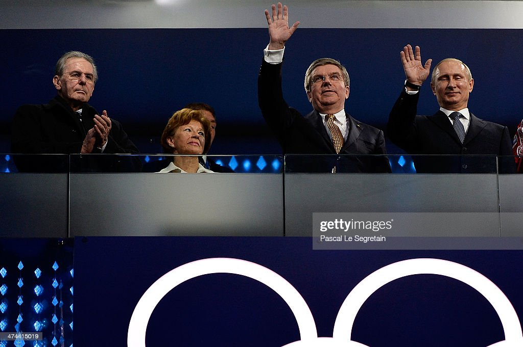 Former President of the International Olympic Committee (IOC) <a gi-track='captionPersonalityLinkClicked' href=/galleries/search?phrase=Jacques+Rogge&family=editorial&specificpeople=206143 ng-click='$event.stopPropagation()'>Jacques Rogge</a>, Claudia Bach, International Olympic Committee (IOC) President <a gi-track='captionPersonalityLinkClicked' href=/galleries/search?phrase=Thomas+Bach&family=editorial&specificpeople=610149 ng-click='$event.stopPropagation()'>Thomas Bach</a> and President of Russia <a gi-track='captionPersonalityLinkClicked' href=/galleries/search?phrase=Vladimir+Putin&family=editorial&specificpeople=154896 ng-click='$event.stopPropagation()'>Vladimir Putin</a> look on during the 2014 Sochi Winter Olympics Closing Ceremony at Fisht Olympic Stadium on February 23, 2014 in Sochi, Russia.