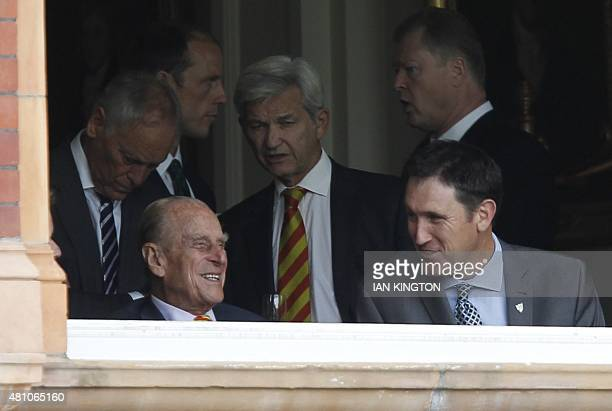 Former president of the MCC Prince Philip Duke of Edinburgh watches the second day of the second Ashes cricket test match between England and...