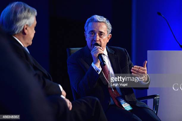 Former President of the Republic of Colombia Alvaro Uribe Velez speaks onstage at the 2014 Concordia Summit Day 1 at Grand Hyatt New York on...