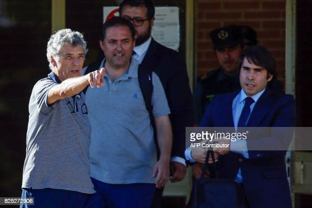 Former president of the Spanish Football Federation Angel Maria Villar gestures as he leaves the prison of Soto del Real near Madrid on August 1 2017...