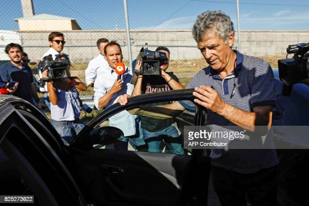 Former president of the Spanish Football Federation Angel Maria Villar gets into a car as he leaves the prison of Soto del Real near Madrid on August...