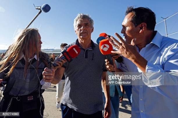 Former president of the Spanish Football Federation Angel Maria Villar is surrounded by the media as he leaves the prison of Soto del Real near...