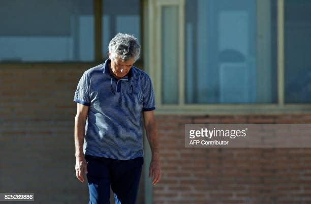 Former president of the Spanish Football Federation Angel Maria Villar leaves the prison of Soto del Real near Madrid on August 1 2017 after being...