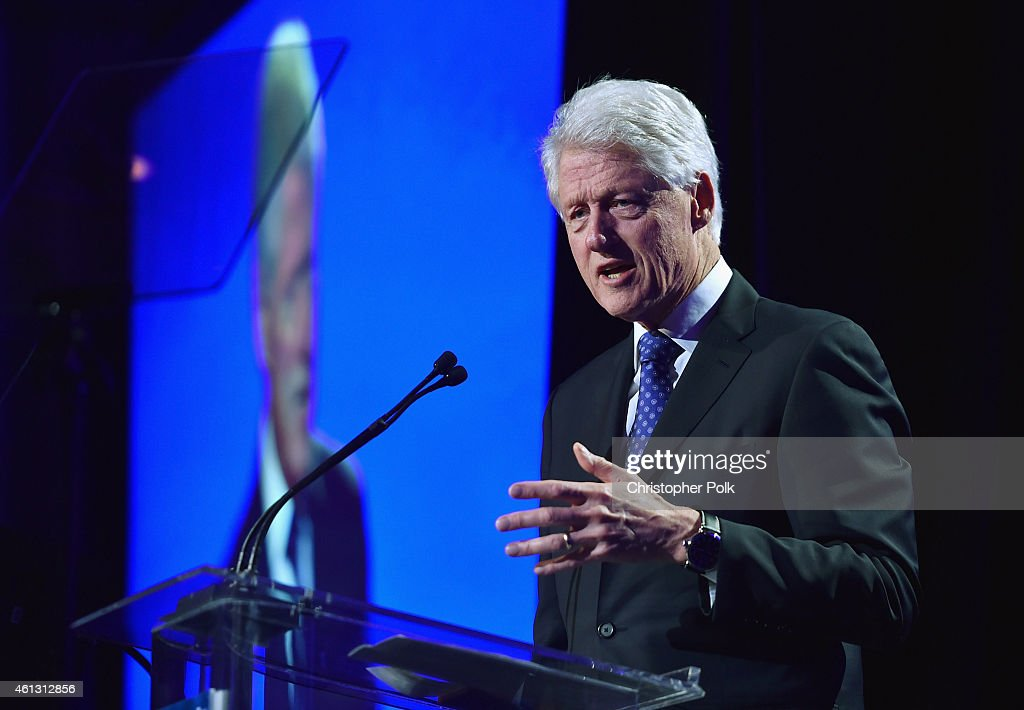 Former President of the United States Bill Clinton speaks at the 4th Annual Sean Penn Friends HELP HAITI HOME Gala Benefiting J/P Haitian Relief...