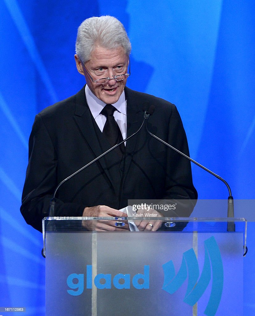 Former President of the United States <a gi-track='captionPersonalityLinkClicked' href=/galleries/search?phrase=Bill+Clinton&family=editorial&specificpeople=67203 ng-click='$event.stopPropagation()'>Bill Clinton</a> speaks onstage during the 24th Annual GLAAD Media Awards at JW Marriott Los Angeles at L.A. LIVE on April 20, 2013 in Los Angeles, California.