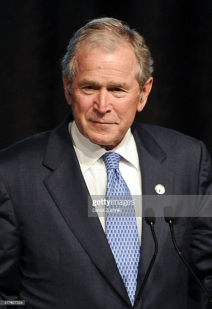 Former President of the United States <a gi-track='captionPersonalityLinkClicked' href=/galleries/search?phrase=George+W.+Bush&family=editorial&specificpeople=122011 ng-click='$event.stopPropagation()'>George W. Bush</a> attends the 2015 Father Of The Year Luncheon Awards at New York Hilton on June 18, 2015 in New York City.