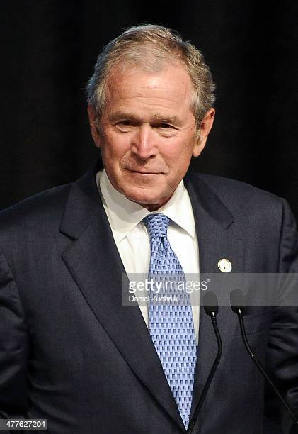 Former President of the United States George W Bush attends the 2015 Father Of The Year Luncheon Awards at New York Hilton on June 18 2015 in New...