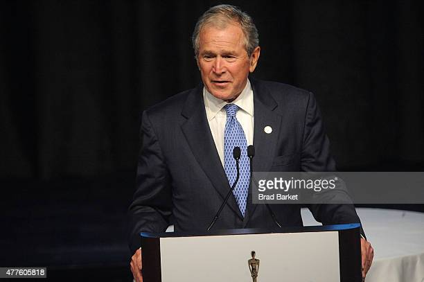 Former President of the United States George W Bush speaks at the 2015 Father Of The Year Luncheon Awards New York Hilton on June 18 2015 in New York...