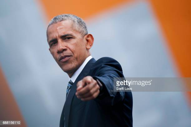 Former President of the United States of America Barack Obama gestures after a discussion on democracy at Church Congress on May 25 2017 in Berlin...
