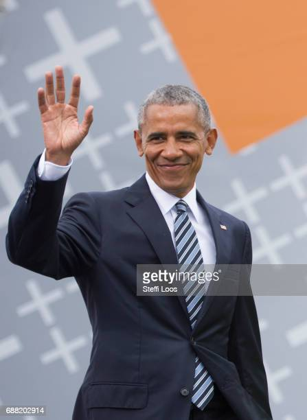 Former President of the United States of America Barack Obama arrives for a discussion about democracy at Church Congress on May 25 2017 in Berlin...