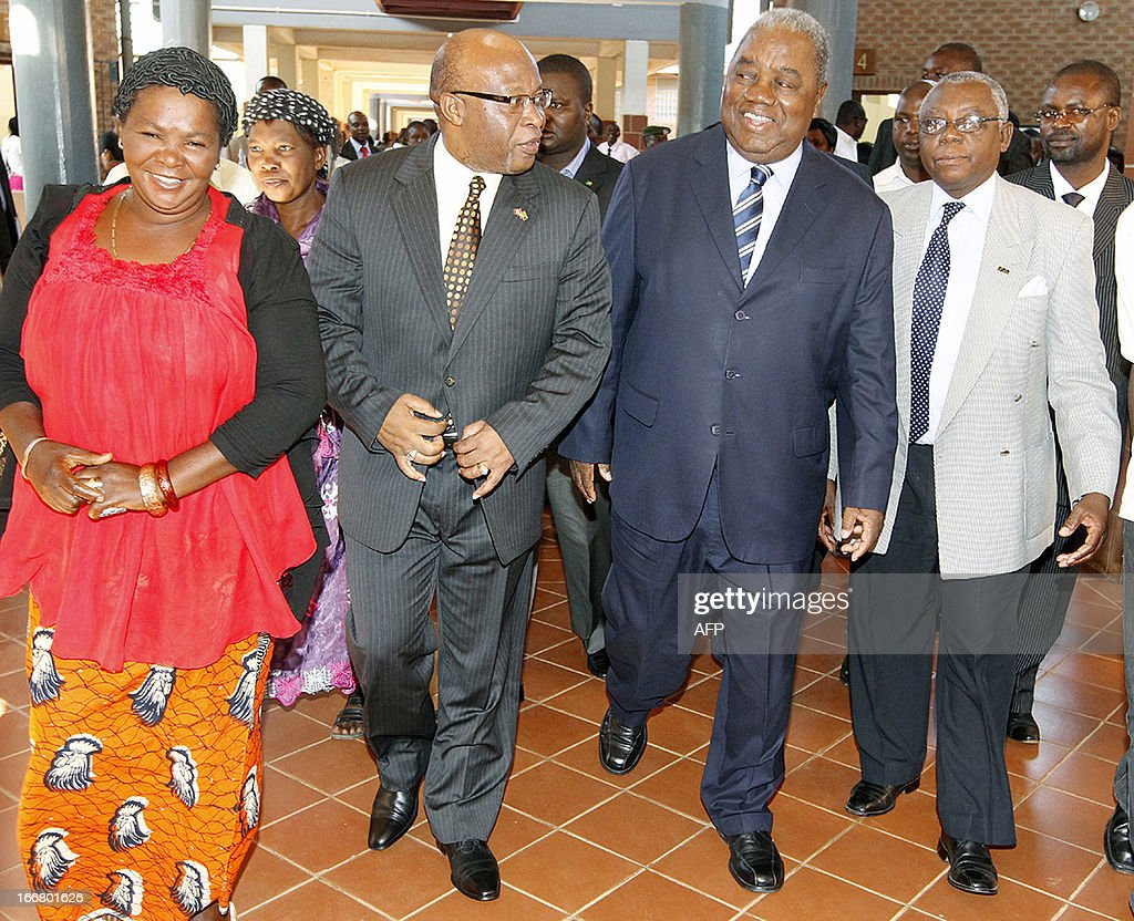 Former president Rupiah Banda with MMD party President Nevers Mumba and his senior private secretary Mikatazo Wakumelo leave the Lusaka Magistrate...