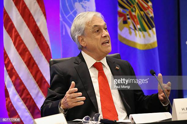 Former President The Republic of Chile Sebastian Pinera speaks at the 2016 Concordia Summit Day 1 at Grand Hyatt New York on September 19 2016 in New...