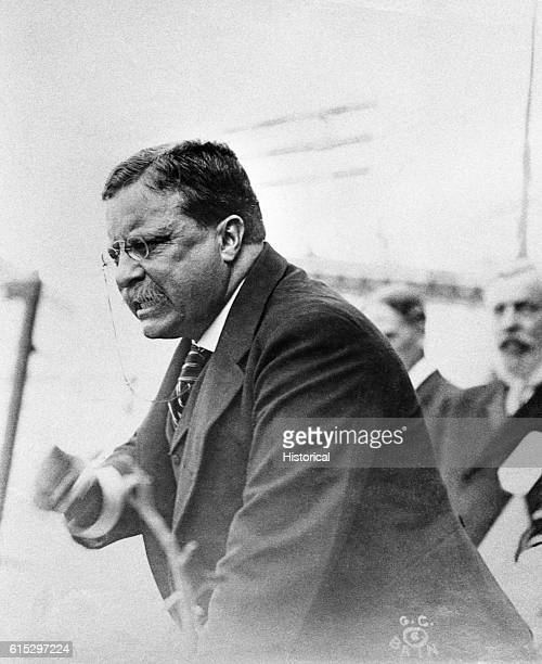 Former President Theodore Roosevelt makes an animated speech in Yonkers in 1910 Following his retirement from office in 1909 Roosevelt continued to...