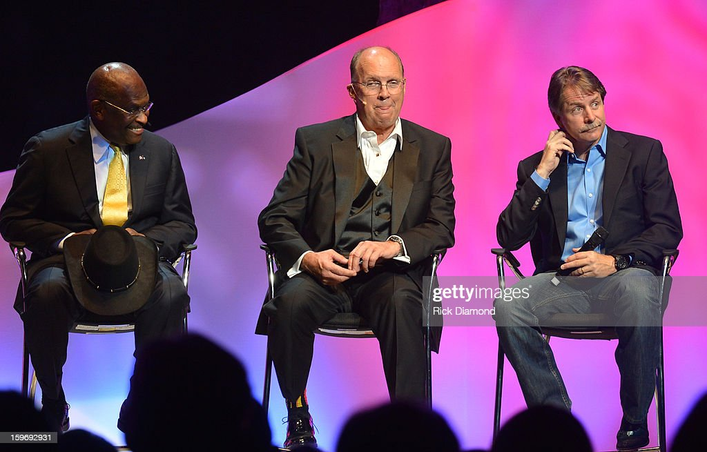 Former presidential candidate Herman Cain, Honoree Neal Boortz and Comedian Jeff Foxworthy backstage for The Boortz Happy Ending at The Fox Theater on January 12, 2013 in Atlanta, Georgia.