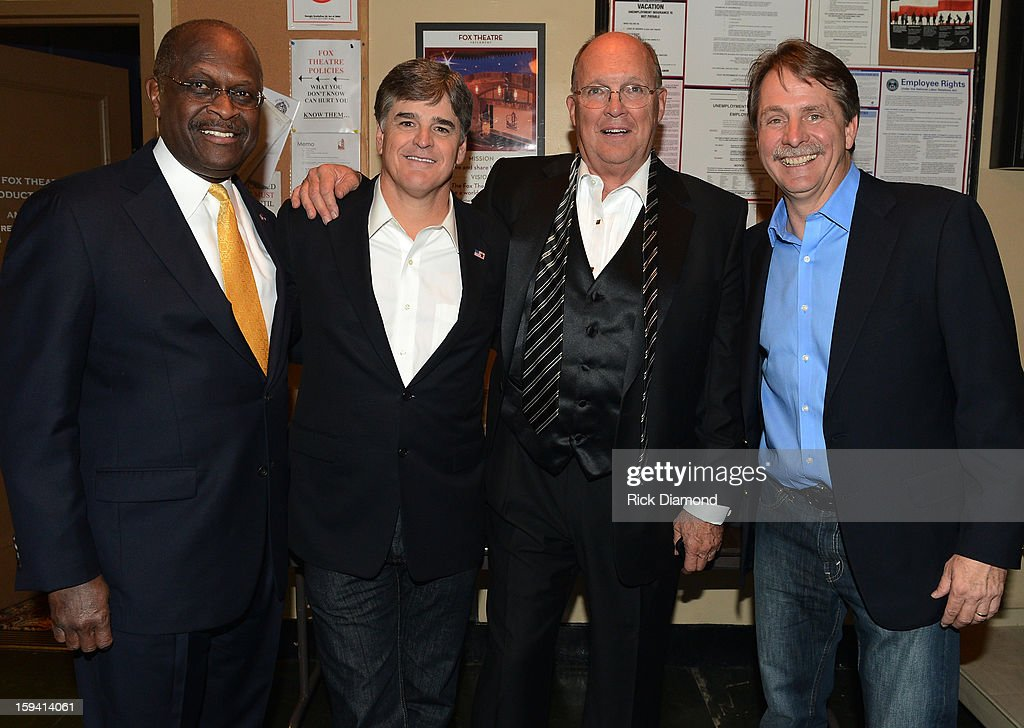 Former presidential candidate Herman Cain, Sean Hannity conservative talk show host, Honoree Neal Boortz and Comedian Jeff Foxworthy backstage for The Boortz Happy Ending at The Fox Theater on January 12, 2013 in Atlanta, Georgia.