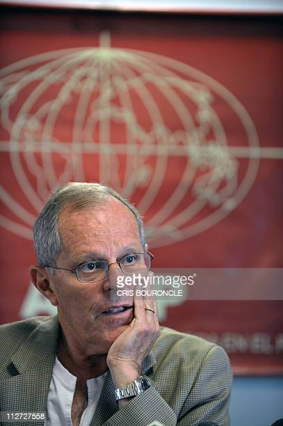 Former presidential candidate Pedro Pablo Kuczynski who led the 'Alianza por el Gran Cambio' party in the April 10 election participates in a press...